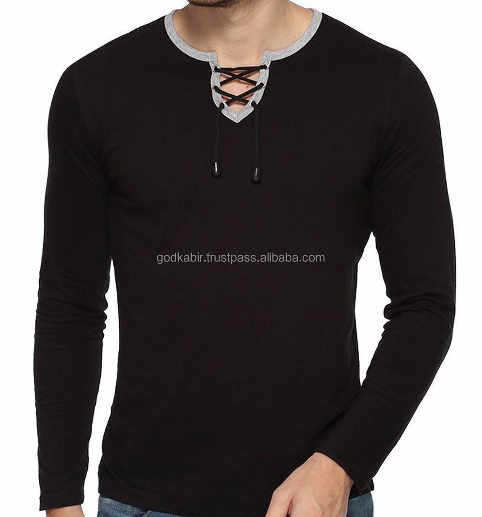 Mens Plain Red Charcoal Bind Deep V-neck T-shirt S -xxl