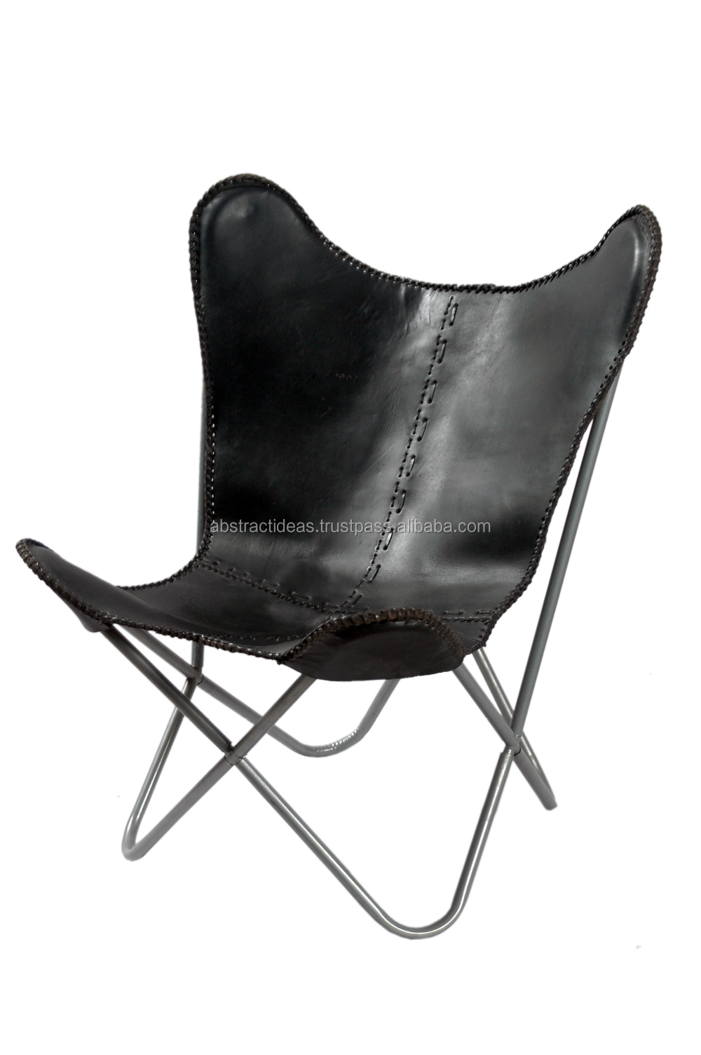 Butterfly chair black - Iron Folded Frame Leather Butterfly Chair