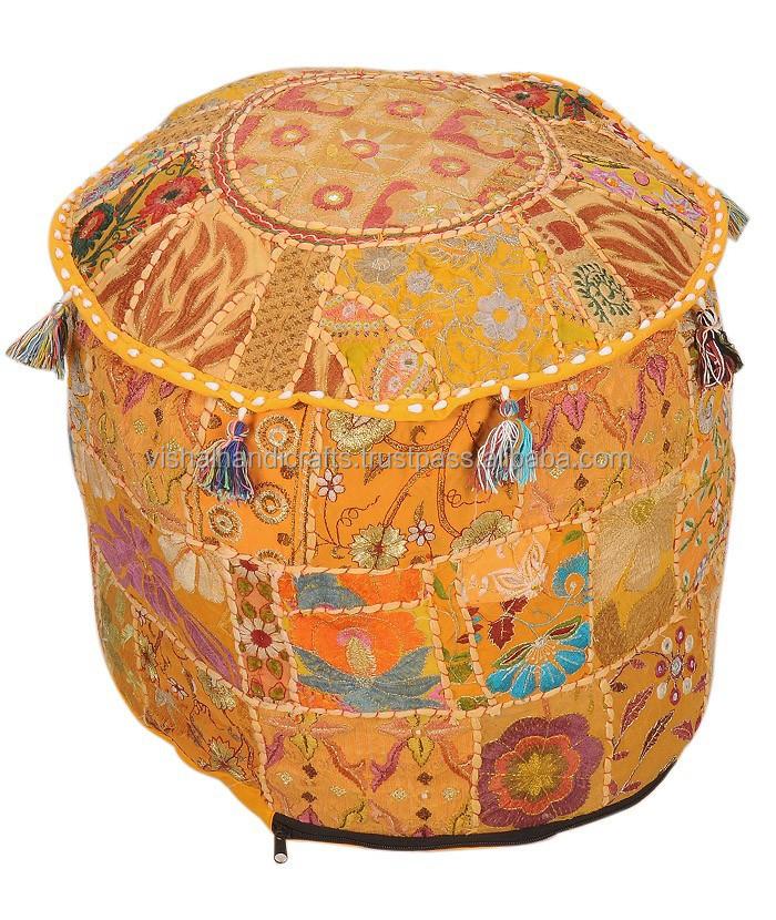 Designer Patch Work Traditional Indian OttomansFootstools Poufs Classy Cheap Poufs Online