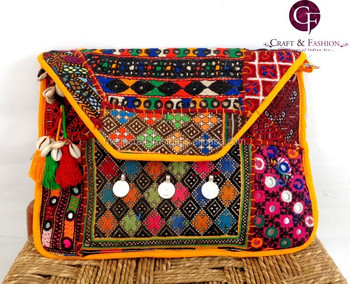 61b0a44538 Traditional Kutch hand embroidery clutch purse-Mirror work Clutch Handbag-Wholesale  Vintage Embroidered Clutch