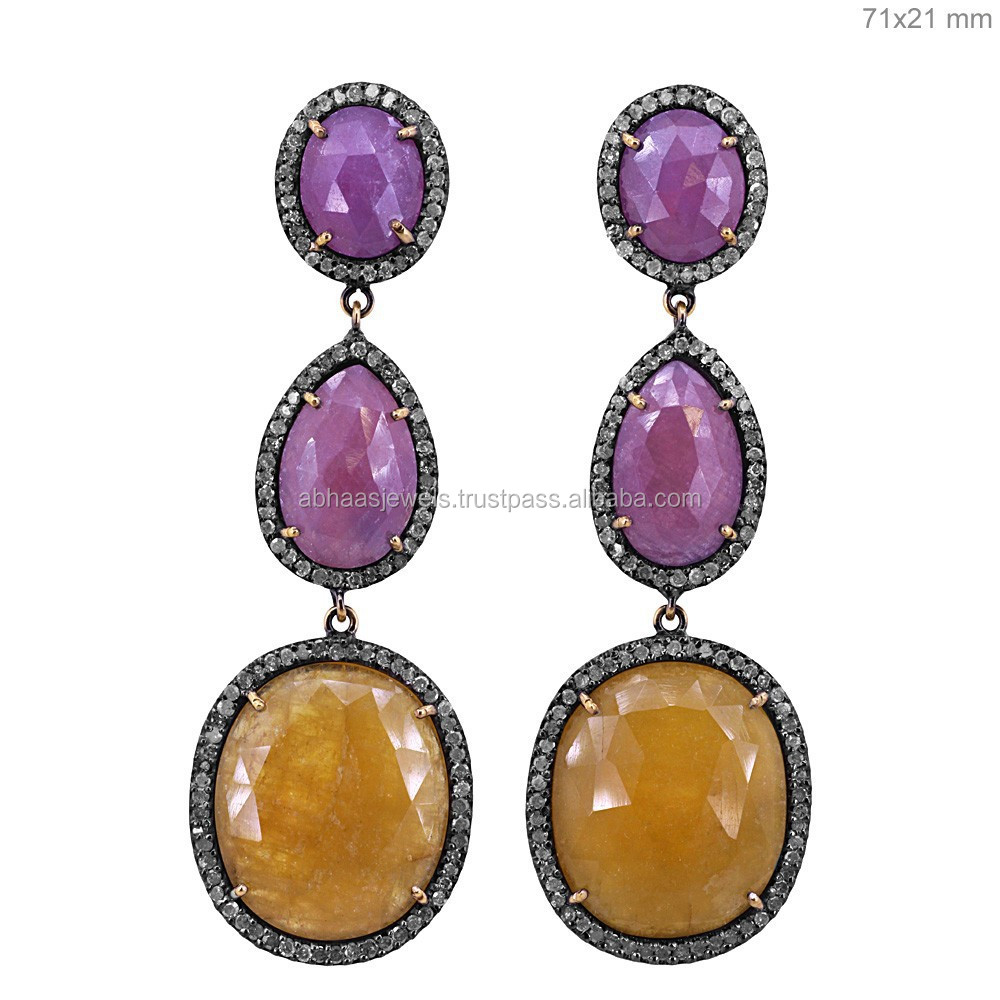 28751154f200 14 K oro rubí pendientes largos diamante Zafiro Amarillo piedras preciosas  joyas exportador