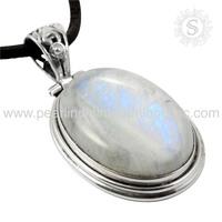 Blue Sheen Rainbow Moonstone Pendant 925 Sterling Jewelry In Silver