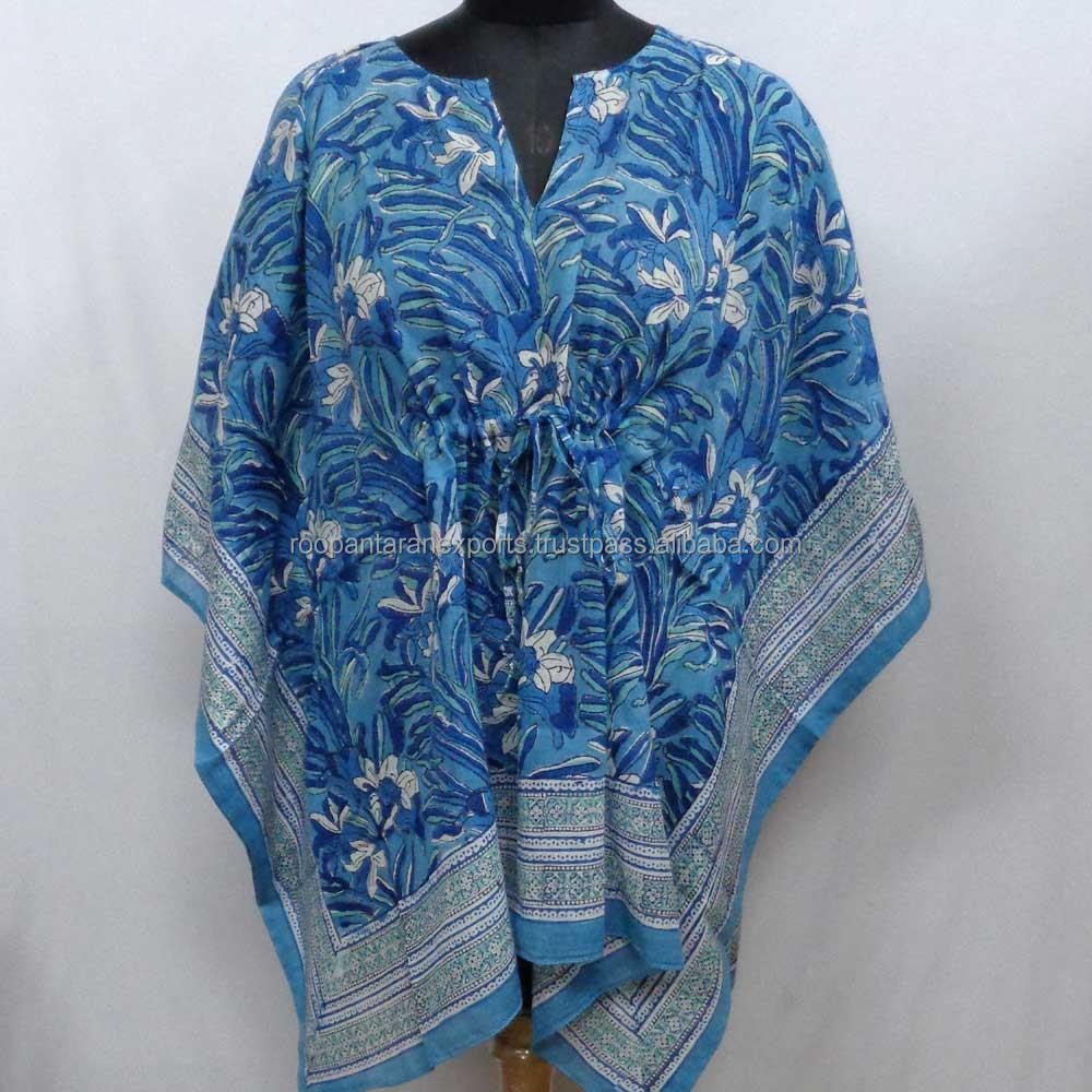 Indian blok gedrukt soft cotton voile gratis size string kaftan