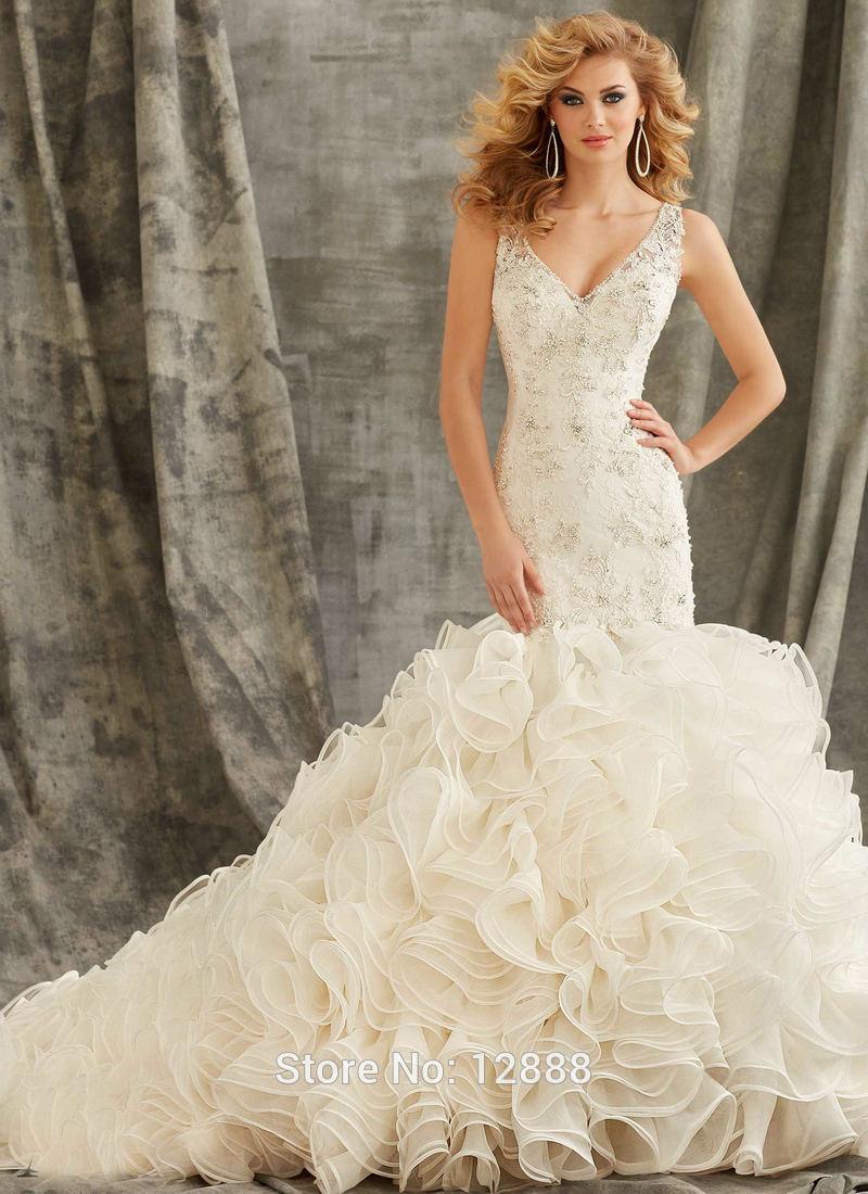 Rüschen Hochzeitskleid Frauen Elfenbein Organza Spitze Hochzeit  Meerjungfrau Kleid Open Back V-ausschnitt Brautkleider - Buy Meerjungfrau  Schwanz