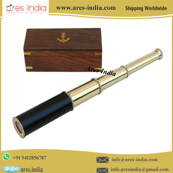 Foldable Brass Pirate Telescope/Monocular Antique Brass Telescope with Wooden Box Nautical Gift