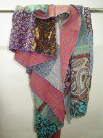 Reversible Cotton Kantha Quilt Sari Throw Bed Cover Blanket Twin Size Cotton Throw