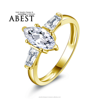 1.0ct Marquise Shape 3-stone 10K Gold Yellow Classic Ring Sona Synthetic Simulated Diamond Engagement Wedding Ring Jewelry Ring