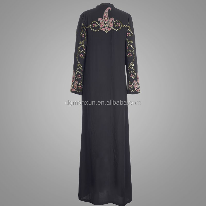 Black embroidered paisley flowing kimono abaya front open abaya