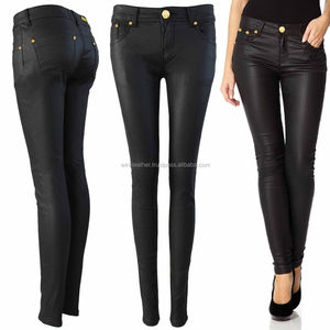 OEM New Wholesale Shinny Skin Fit Leather Pants for Womens Sexy Genuine Sheep Leather Trousers
