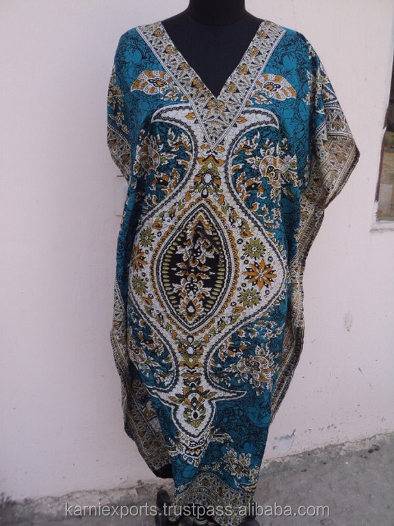 Light blue traditional design printed sexy caftan & maxi long gown evening dress