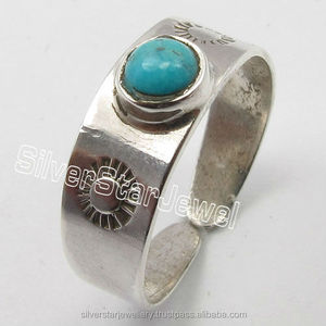 925 Silver Turquoise Adjustable Toe Ring