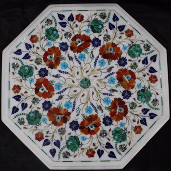 White Marble Stone Inlaid Coffee Table Top With Semi Precious Gemstones Inlay Work