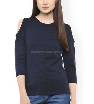 21e2fcba472856 Fashion Design Women Sexy Cold Shoulder Top O Neck Shirts Stylish Selling  Cotton Polyester OEM Customize