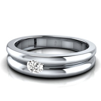 0.10TCW Real Diamond Solitaire Wedding Band 14k solid White Gold