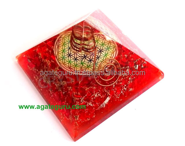 Big Orgonite Chakra Red Pyramid With Flower Of Life Symbol And Crystal Point