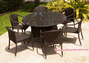 Jardin Extérieur Restaurant Table Ronde Et Chaise Ensemble De Salle À  Manger En Rotin/osier - Buy Restaurant De Jardin En Plein Air,Table Et ...