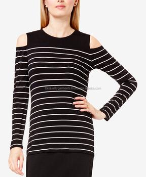 3b57950527c0a4 New High Quality Women Girl Lady Cold Shoulder Plus Size Black Cotton  Shirts Stylish Tops OEM