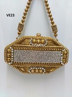 VE23A crystal minaudiere rhinestone metal designer handbag in golden or silver colour