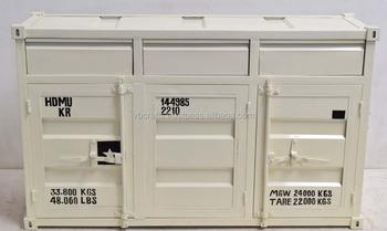 Metall Container Stil Sideboard Weisser Farbe Echte Schiff Container