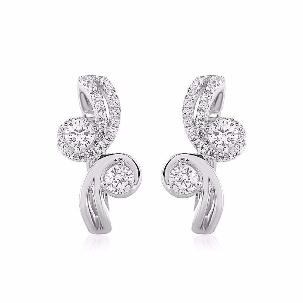 Round Cut GIA Certified Diamond Two Stone Hoop Earring Crafted in 10K White Gold (0.92 cttw)