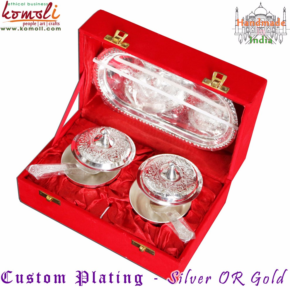 Silver Gifts For Indian Wedding: Brass Puja Thali Set Of 5 Puja Items Silver Wedding Return