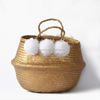 Gold Sequin Seagrass Storage Baskets/ Decorative Seagrass Basket With  Pompoms