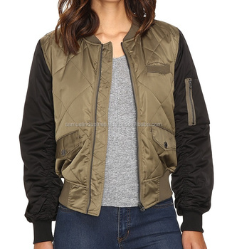 8a5a1d712b8 Diamond Quilted Bomber Jacket Women\Olive Green Body With Black Sleeves Bomber  Jacket\Girls