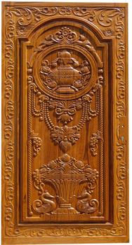 wood main door flower design  | 188 x 350