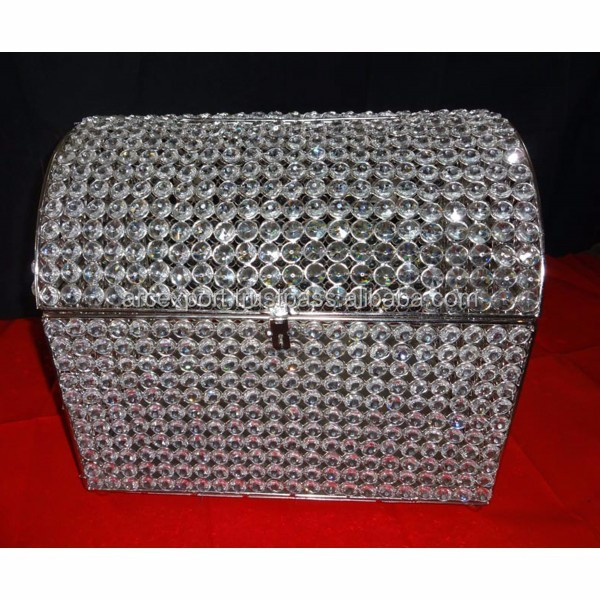 crystal beaded antique metal box