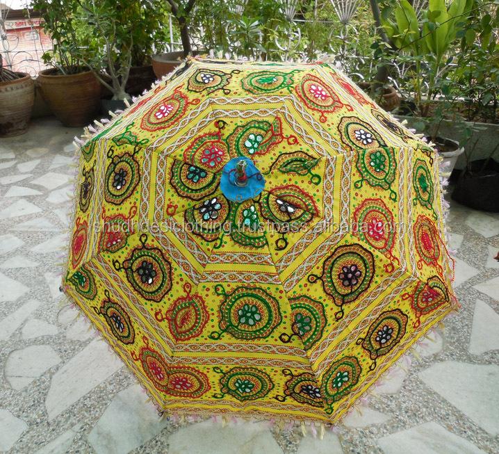 Floral Elephant Design Handmade Embroidery Indian Wedding Umbrella