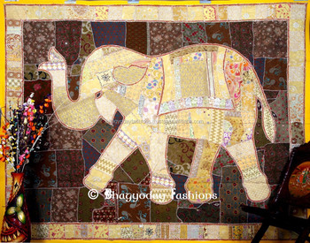 Elephant Wall Hanging indian wall hanging decorative elephant patchwork sequins handmade