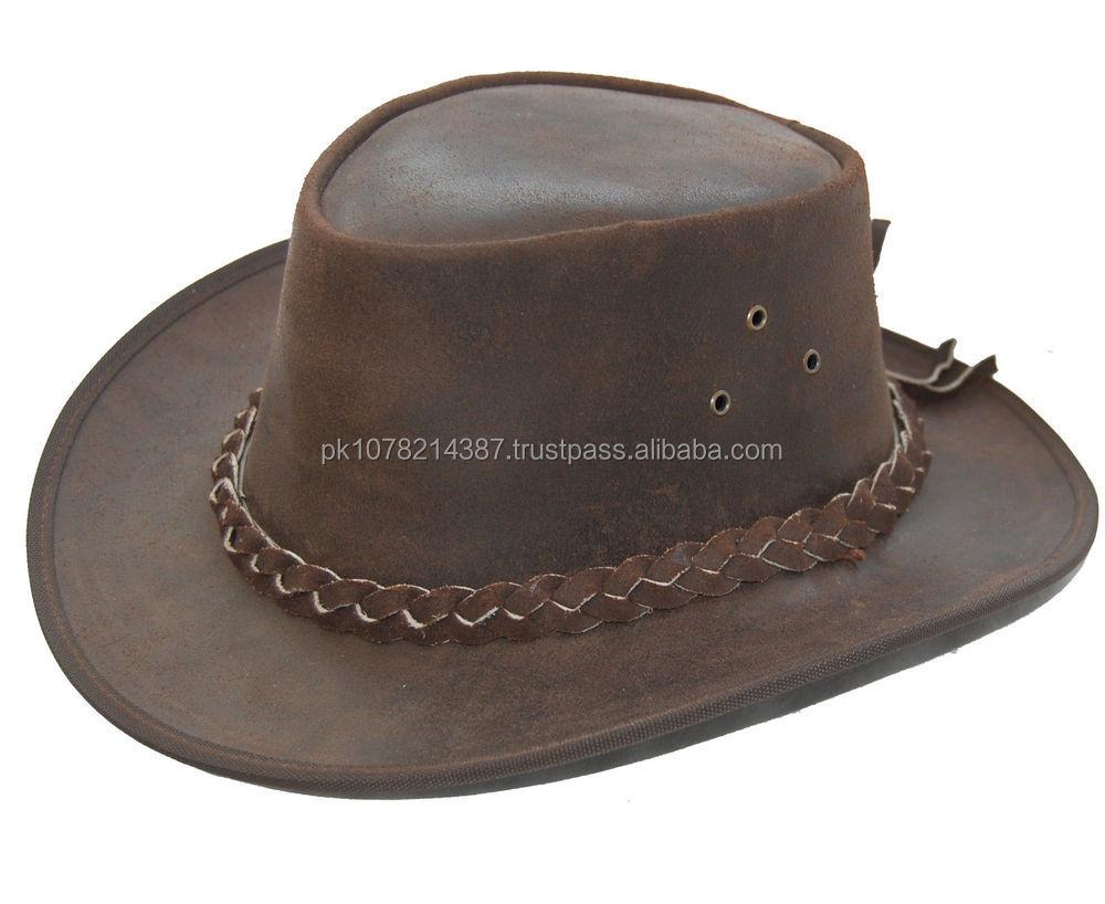 Australian Black Leather Bush Hat Cowboy Hat 4 Sizes