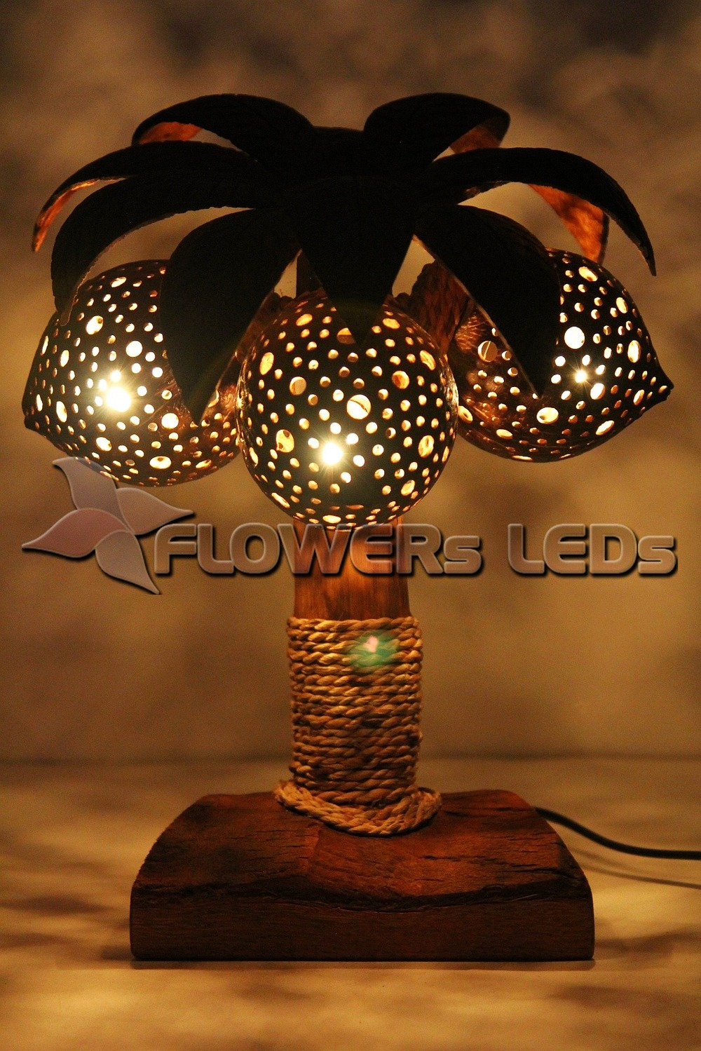 COCONUT SHELL LAMP, LIGHTING, NIGHT LIGHTS, LAMPS FOR HOME DECOR, TREES,