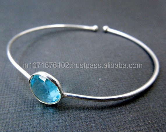 925 Sterling Silver Blue Hyro Quartz Gemstone Bangle