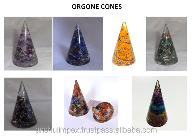 Tiger Eye Orgone Energy Pyramid with Crystal Point for Orgone Healing