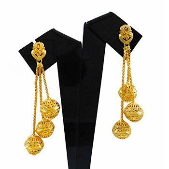 18 K Gold Plated Earrings Long Chandelier Indian Earring Dangles Jewellery Gift For Women Bse3438