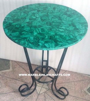Beautiful Malachite Round Table Tops With Iron Base   Buy Green Table  Tops,Overlay Back Table On Marble,Semi Precious Tables Product On  Alibaba.com