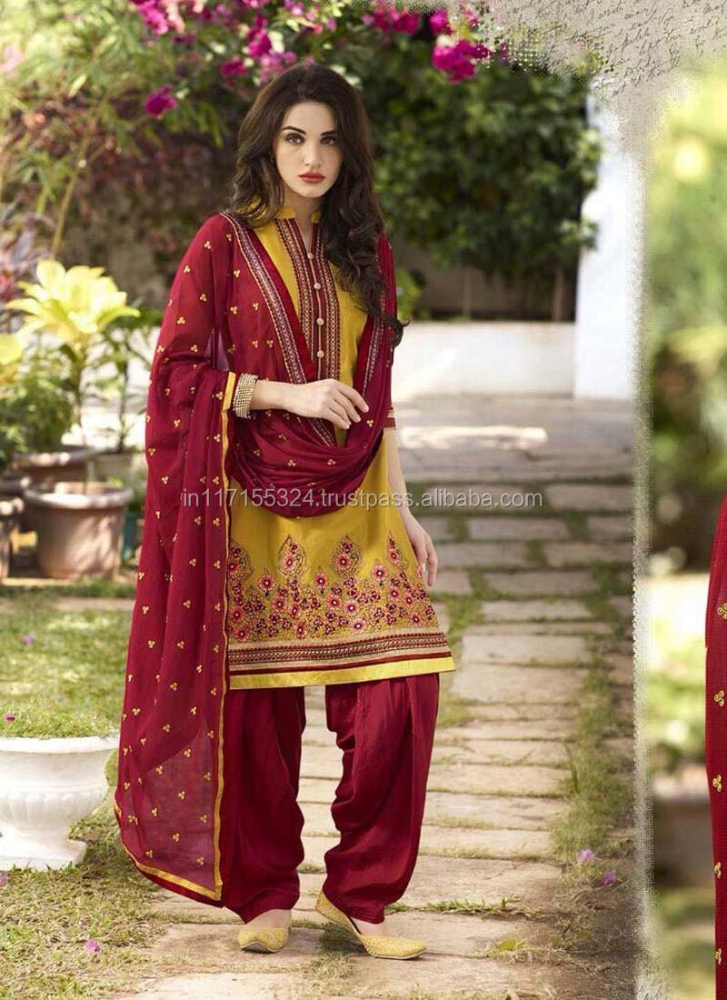 ef333366ca Patiala salwar kurti suit - Cotton patiala salwar suit - Salwar kameez  designs with borders - Wholesale clothing market
