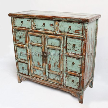 Distressed Turquoise Blue Patina Cabinet Wood Wooden Reclaimed Product On Alibaba