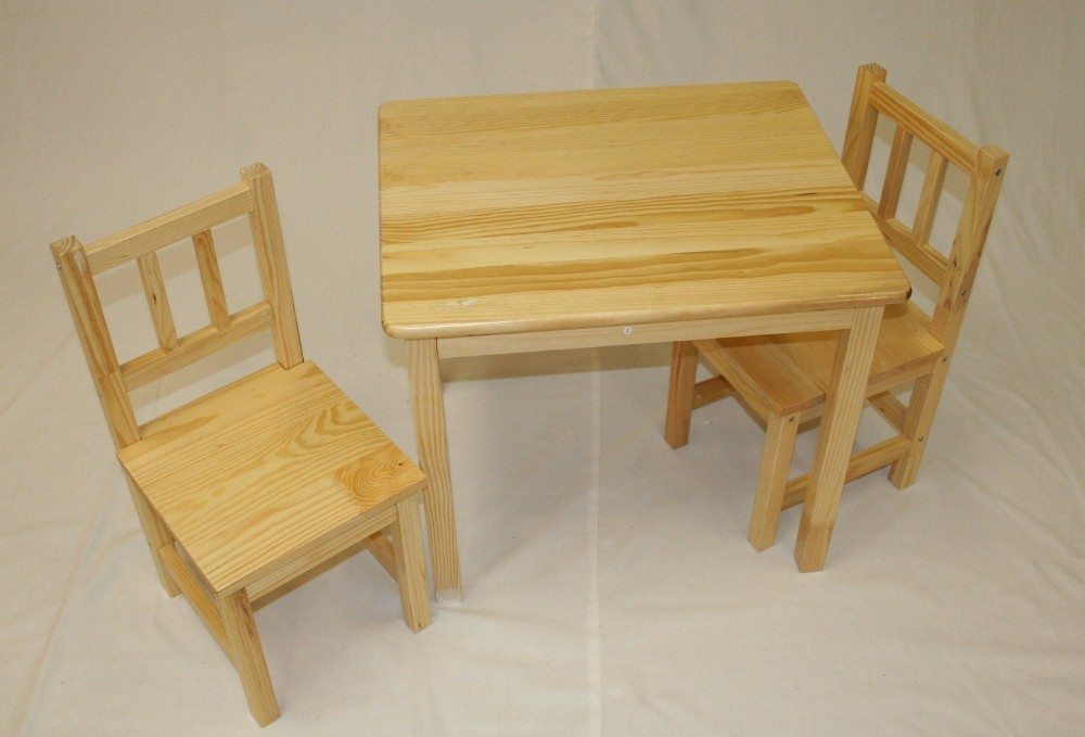 Kindergarten solid wood kids study playing table chair for Wooden kids table