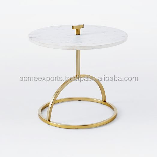 Marble Top Coffee Table With High Quality Stainless Metal With Brass Plated Finish