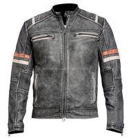 Men's Vintage Motorcycle Cafe Racer Biker Retro Moto Distressed Leather Jacket--FL-2252