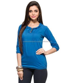 ee9fdb60b9 Blue Pintucks And Ruffle Top CHEFON Simple elegant long sleeve pintuck  pleats pictures of blouses models