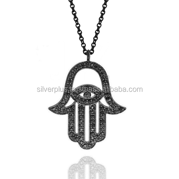 925 Sterling Silver Pave Black Spinel Evil Eye Hamsa Pendant Chain Necklace Wholesale Religious Charm Pendants