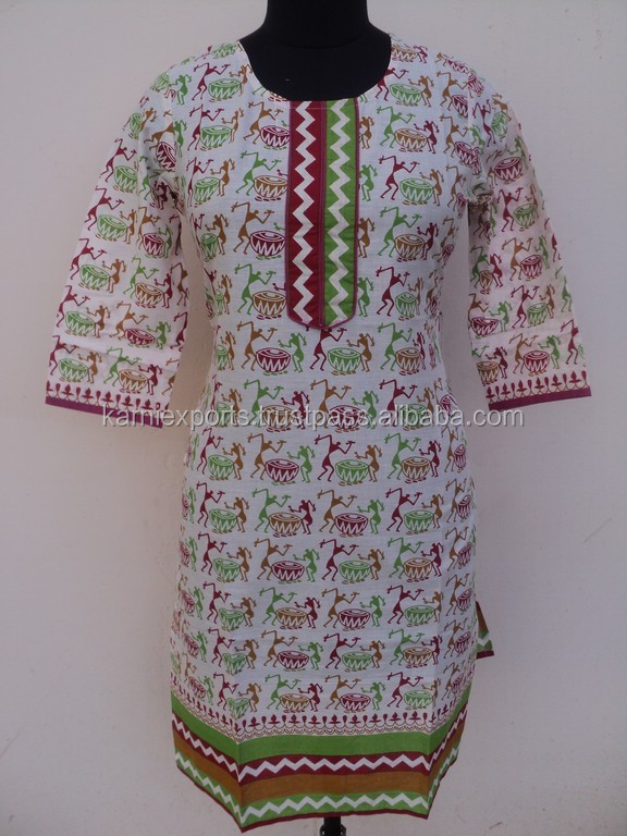 India printed warli art printed most popular tunic kurtis for womans & girls