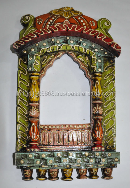Traditional Indian Painted Home Decor Wooden Handmade Carved Jharoka Panel