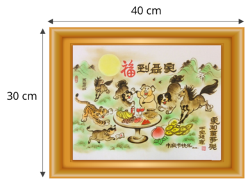 Gordon Arts traditional customized artwork, Chinese Zodiac animals painting, 30cm X 40cm