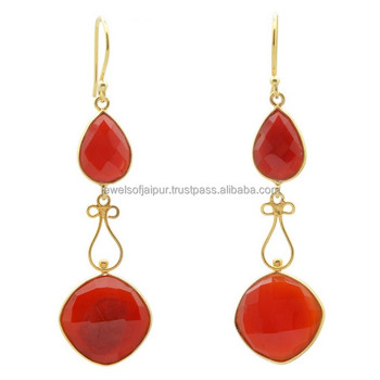 Fashion Gemstone Red Onyx Gold Polished Elegant Hook Closure Type Drop For Women Pretty Silver Earrings