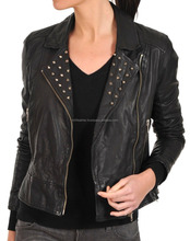 Ladies Fashion Leather Motorcycle Biker Jacket With Studded collar, Buckles 515