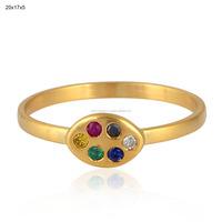 Blue Sapphire Emerald Ruby 18k Yellow Gold Diamond Designer Ring Gemstone Jewelry